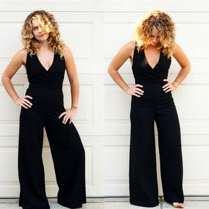Disco Vintage 1970s Black Jumpsuit Bell Bottom